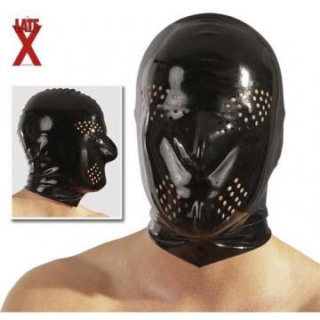 Maschera Nera in latex con fori per occhi e naso